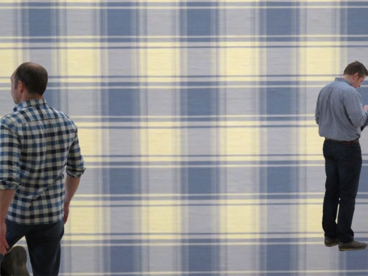 Amsterdam's Contemporary Art Museum with my 'Plaid Men'