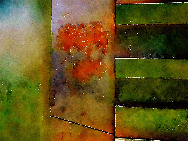 Metal Wall Abstract in Waterlogue