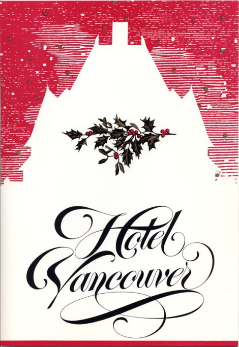 The die-cut front panel of the Hotel Vancouver Christmas card/brochure