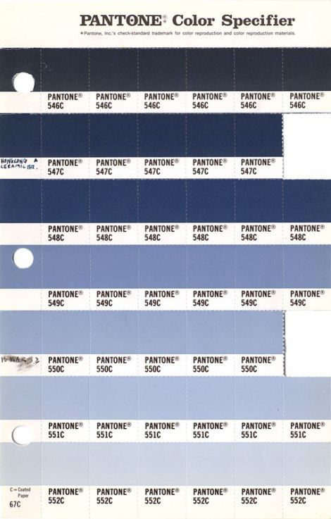 Pantone Color Specifier Book: Blue Swatches (and one like Serenity, 2016's colour of the year)