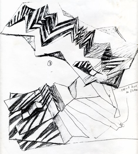 sketch of two overlapping paintings of folded paper of the mountain in the Sinai Desert across the water from Eilat;