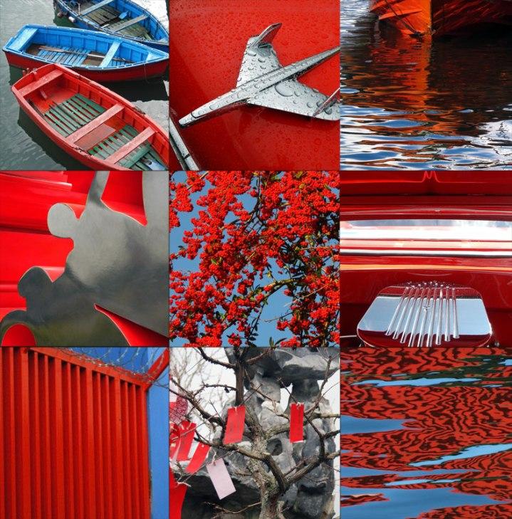 red, blue, silver, Mood board