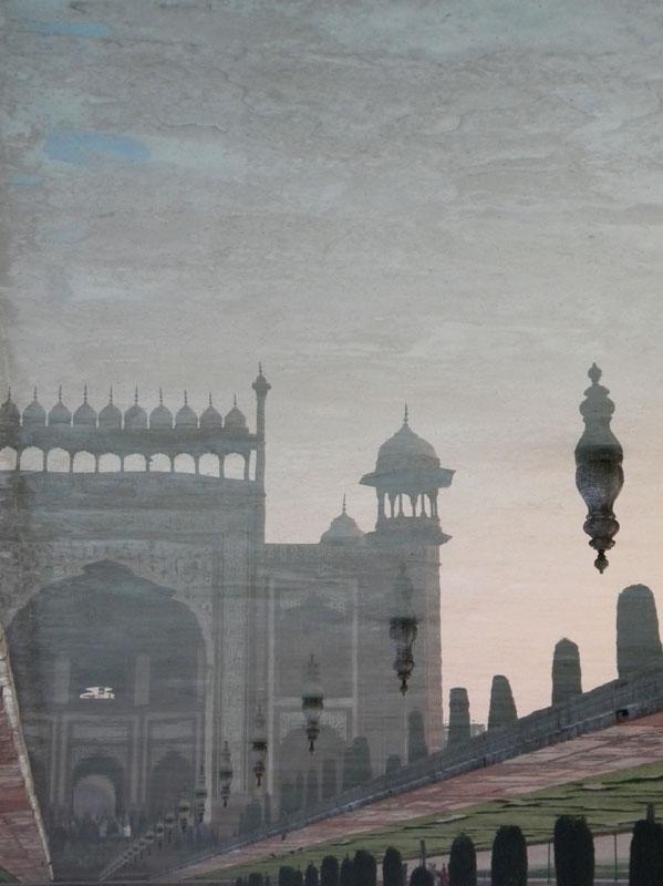 Upside-down reflection in Agra's Taj Mahal